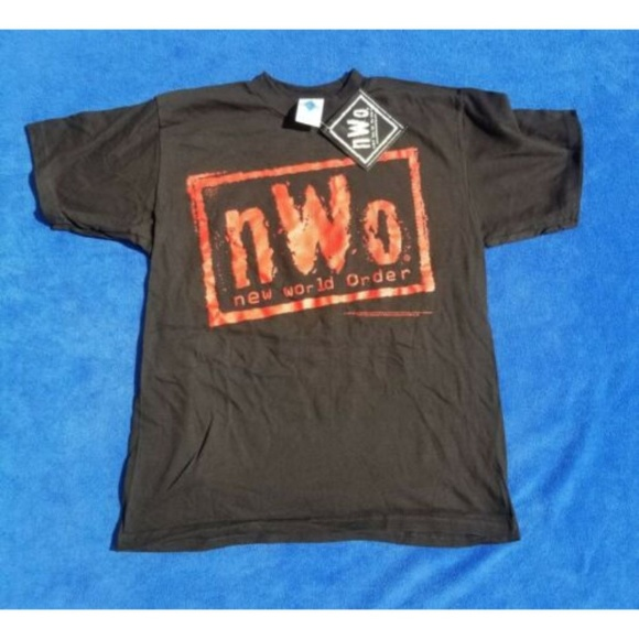 NWO NEW WORLD ORDER T-Shirt WRESTLING VINTAGE WCW MENS Black Shirt